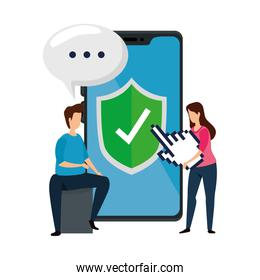 couple with smartphone technology isolated icon