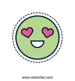 cartoon circle in love line fill style icon vector design
