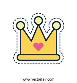 crown with heart line fill style icon vector design