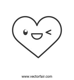 Kawaii heart cartoon line style icon vector design