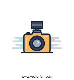 camera device with flash line fill block style icon vector design