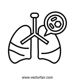 lungs with covid 19, line style icon
