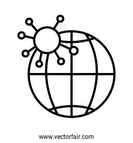 globe earth with particle of covid 19, line style icon