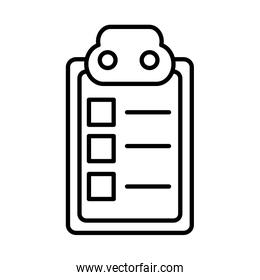 clipboard with paper document, line style icon
