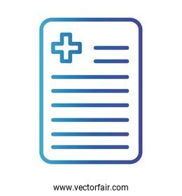 document with cross , gradient line style icon