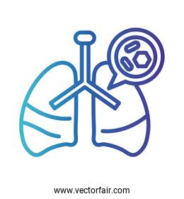 lungs with covid 19, gradient line style icon