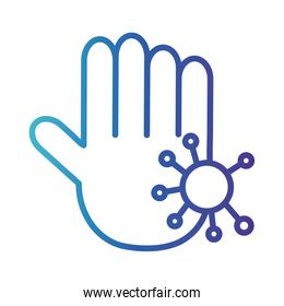 hand with particle covid 19, gradient line style icon