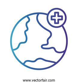 world planet with cross , gradient line style icon