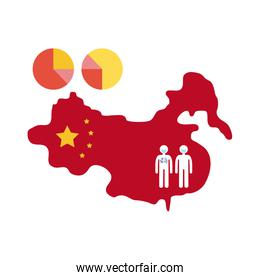 map of china with covid 19 infographic and icons, flat style icon