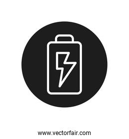 Isolated battery line block style icon vector design