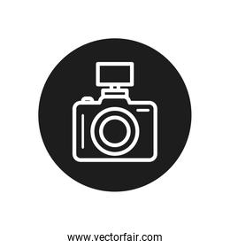 camera device with flash line block style icon vector design
