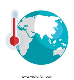 world planet with thermometer isolated icon