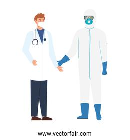 person with biohazard suit protection and doctor