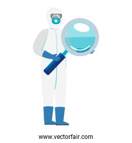 person with biohazard suit protection and magnifying glass