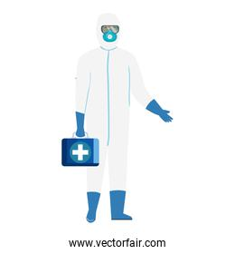 person with biohazard suit protection and first aid kit