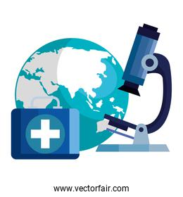 microscope with world planet and first aid kit