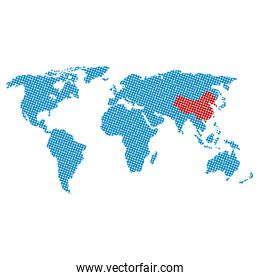 world map earth isolated icon
