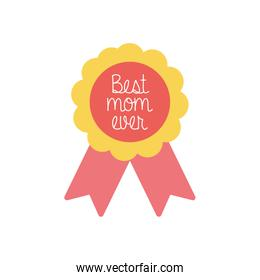 best mom ever seal stamp flat style icon vector design