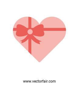 Heart gift with bowtie flat style icon vector design