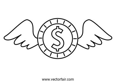 coin money with wings isolated icon