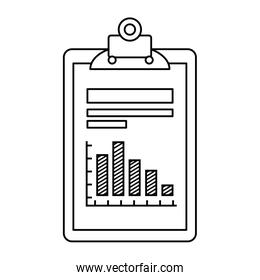 clipboard and file  with infographic