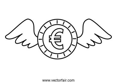 coin money euro with wings isolated icon