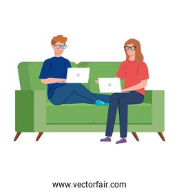 couple working in telecommuting with laptop in couch
