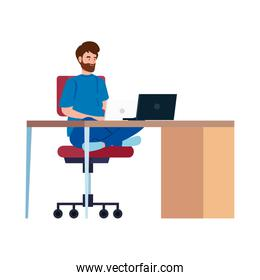 man working telecommuting with laptop in desk isolated