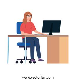 woman working telecommuting with computer in desk