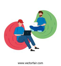 men working in telecommuting with laptop sitting in pouf soft