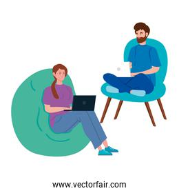 couple working in telecommuting with laptop sitting in pouf soft and chair