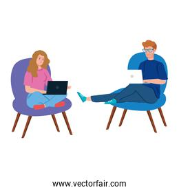 smiling couple working in telecommuting with laptop sitting in chair