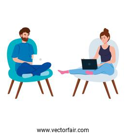 couple working in telecommuting with laptop sitting in chair