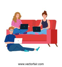 people working in telecommuting avatar characters