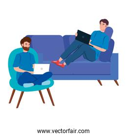 men working in telecommuting with laptop in couch and chair