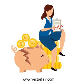 piggy bank broken with businesswoman and icons
