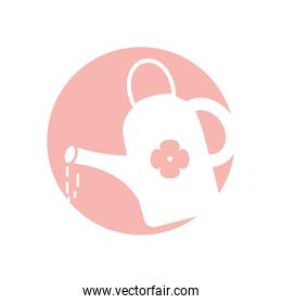 Isolated watering can with flower silhouette style icon vector design