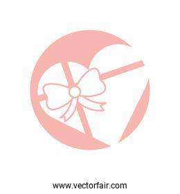 Heart gift with bowtie silhouette style icon vector design