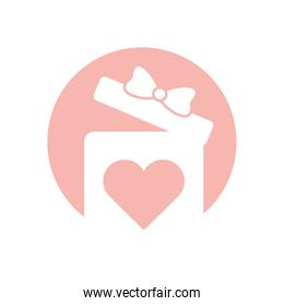 Gift with bowtie and heart silhouette style icon vector design