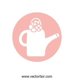 Isolated watering can with flowers silhouette style icon vector design