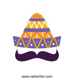 Mexican hat with mustache flat style icon vector design