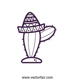 cactus with mexican hat line style icon vector design