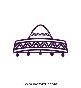 Mexican hat line style icon vector design