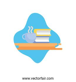 Isolated education books and coffee cup flat block style icon vector design