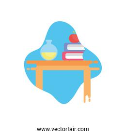 apple over school books and flask flat block style icon vector design