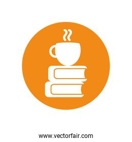 Isolated education books and coffee cup silhouette block style icon vector design