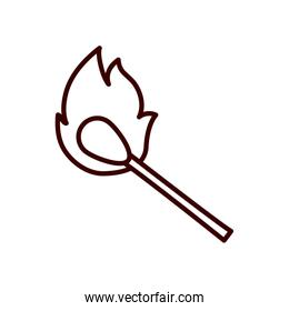 Isolated match flame line style icon vector design