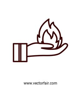 Isolated flame over hand line style icon vector design