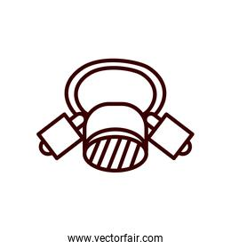firefighter mask line style icon vector design