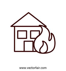 house in fire line style icon vector design